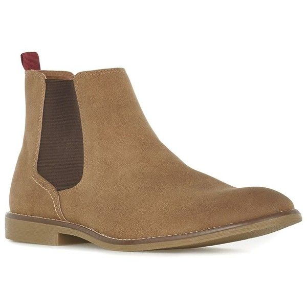 TOPMAN Tan Faux Suede Chelsea Boots (1,975 THB) ❤ liked on Polyvore featuring men's fashion, men's shoes, men's boots, brown, mens tan boots, mens tan chelsea boots, mens brown chelsea boots, topman mens boots and mens tan shoes
