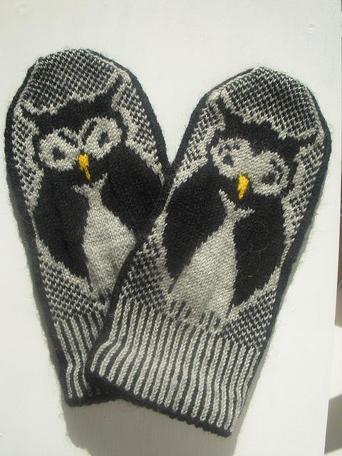 Moooody owl mittens by Anna-Karin Consoli