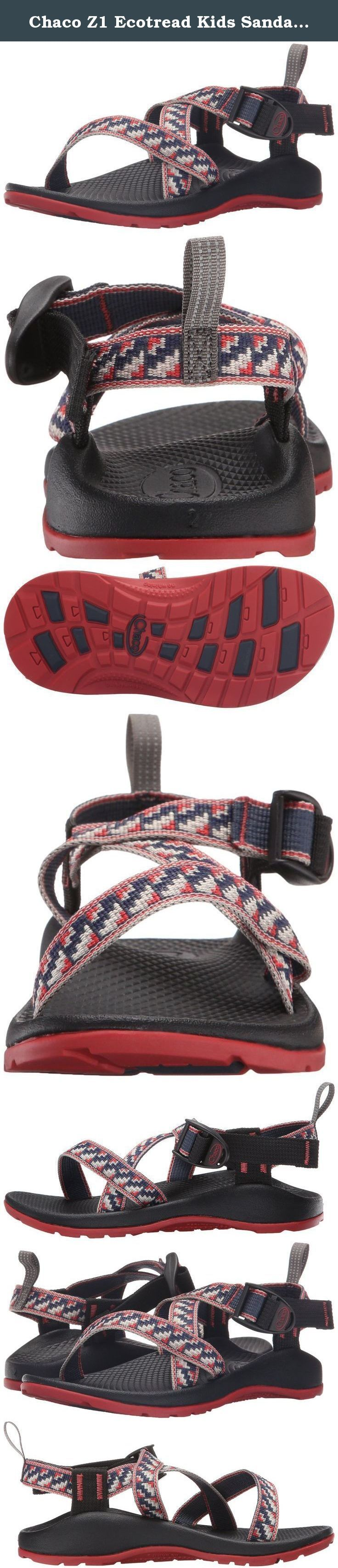 Chaco Z1 Ecotread Kids Sandal (Little Kid/Big Kid). Machine washable and durable, this kid's version of our classic z/1 can handle anything your kids can put them through. Mud pies and capture the flag have met their match. Our luvseat™ platform promotes healthy body alignment, while custom adjusted straps allow for easy on and off.