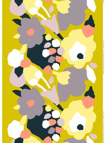 Marimekko Päivänsankari Fabric Yellow/Grey/Black   Kiitos Marimekko