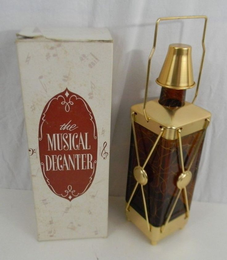 Vintage Music Box For He's A Jolly Good Fellow Glass Decanter Swiss Harmony Inc