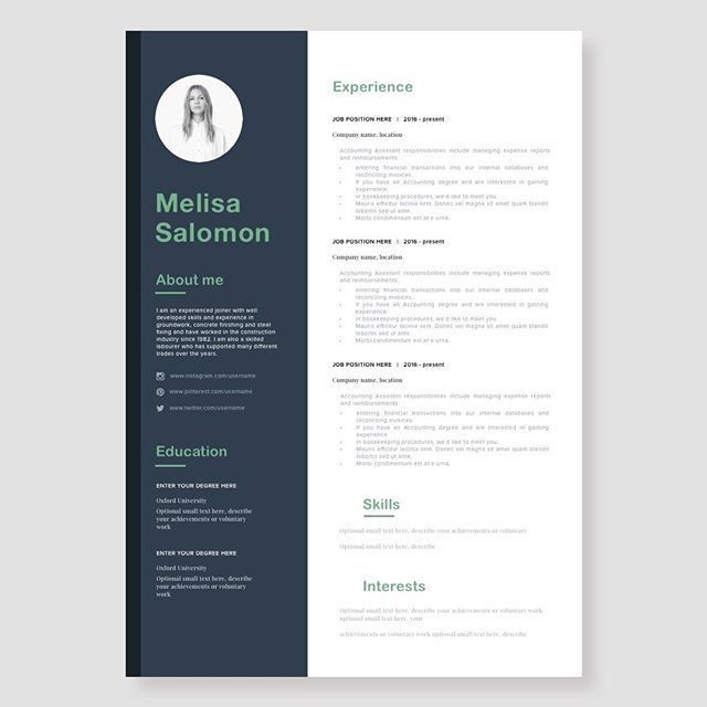 Resume Template Cv Template Creative And Modern For Microsoft Word And Pages Instant Download Elegant Minimalistic Resume Template Resume Template Cv Template Free Business Card Templates