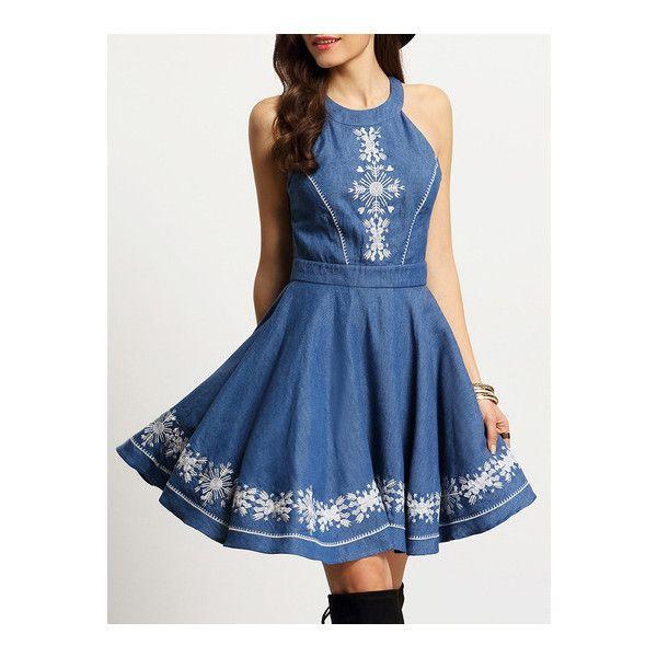 SheIn(sheinside) Denim Blue Halter Neck Embroidered Pleated Dress ($26) ❤ liked on Polyvore featuring dresses, blue, denim skater dress, blue sleeveless dress, long-sleeve denim dresses, blue skater dress and short blue dresses