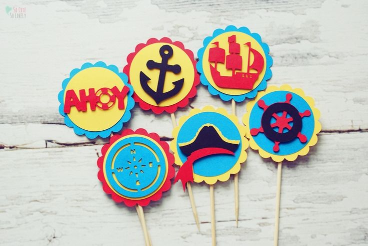 #birthday #party #toppers #cupcake #muffin #sweet #handmade #kids #cricut #explore #craft #home #decor #pirat