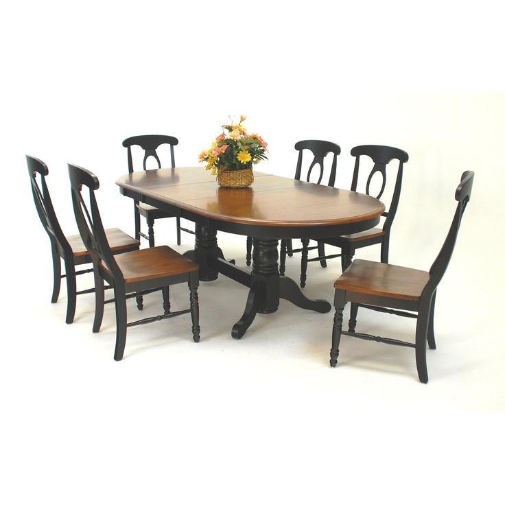 Have to have it. Casual Home 2 Tone Napoleon 7 Piece Extendable Trestle Solid Wood Dining Table Set - Ebony/Dark Walnut $1449.99Wood Dining Tables, Breakfast Nooks, Extended Trestle, Casual Dining, Mom House, Basements Ideas, Dining Sets, Piece Extended, Ebony Dark Walnut