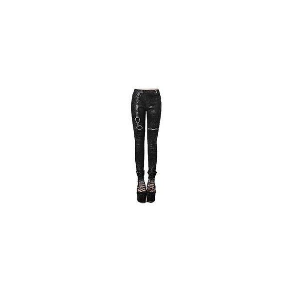 Punk Gothic Women's Black Pencil Leggings Street Winter Elastic Waist... ❤ liked on Polyvore featuring pants, leggings, high waisted pants, skinny pants, high-rise leggings, high waisted leggings and gothic leggings