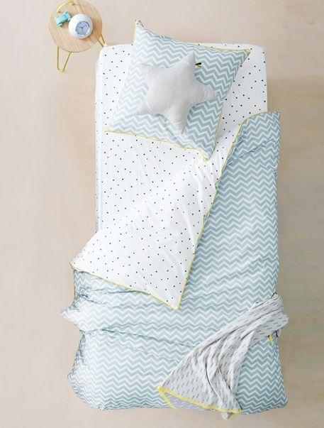 Parure réversible housse de couette + taie d'oreiller enfant GRAPHIC ZIGZAGS - Reversible Bleu - 1