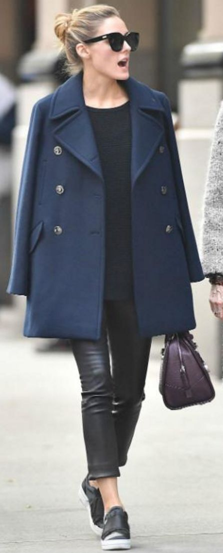 Who made Olivia Palermo's black sunglasses, blue coat, black leather pants, sneakers, and red handbag?