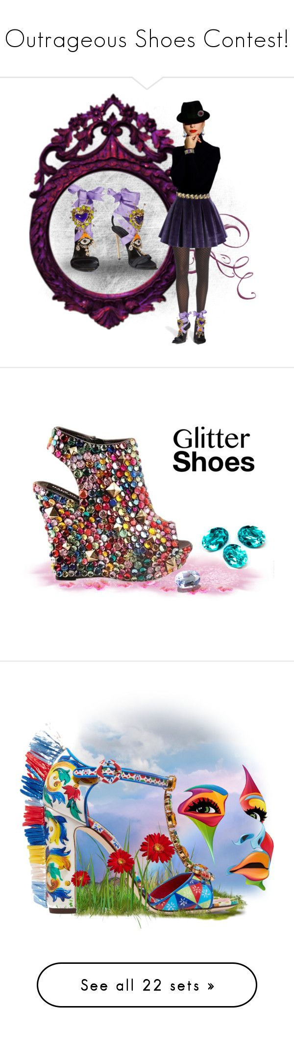 """""""Outrageous Shoes Contest!"""" by rboowybe ❤ liked on Polyvore featuring art, Dolce&Gabbana, Sophia Webster, Miu Miu, Irregular Choice, Givenchy, dolceandgabbana, Vetements, MSGM and Lee Savage"""