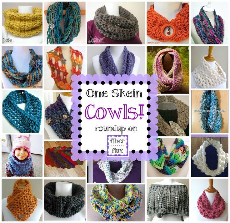 One Skein Cowls! 20+ Free Crochet Patterns, roundup on Fiber Flux