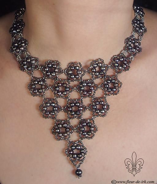 Black flowers necklace N731 by Fleur-de-Irk