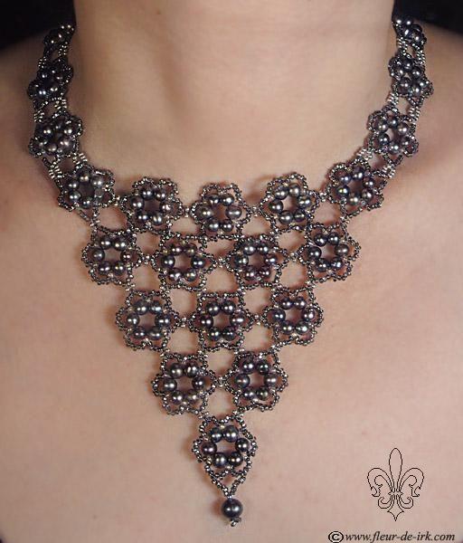 Black flowers necklace N731 by Fleur-de-Irk.deviantart.com