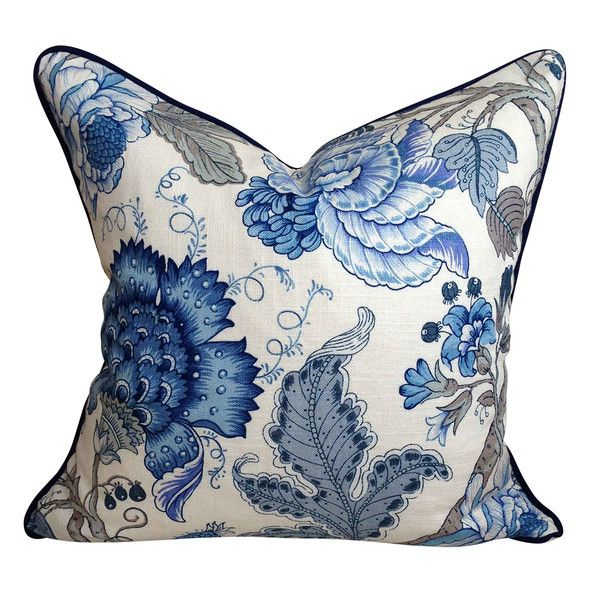 Navy & Ivory Floral Baltic Cushion