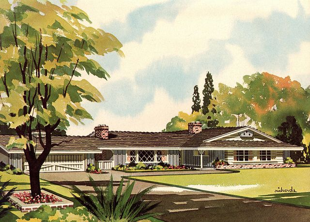 Storybook ranch houses mid century modern house plans for California ranch floor plans