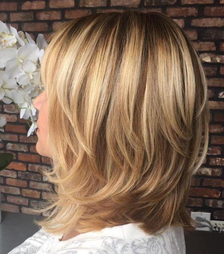 Shoulder-Length Layered Brown Blonde Hair
