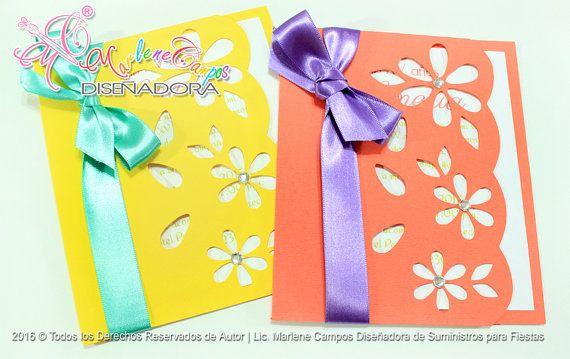 Flores invitaciones dulces 16 invitación por MarlenesInviteDesign