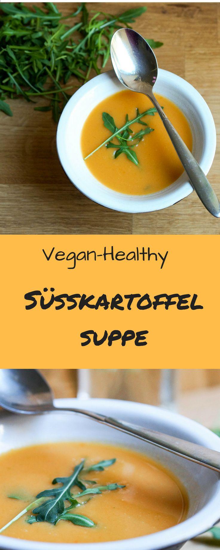 Eine vegane Süßkartoffelsuppe mit Rucola ein tolles Frühlings Rezept!