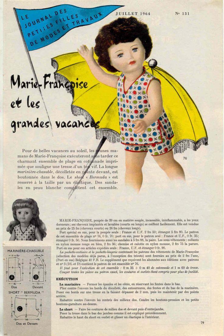 PAR AMOUR DES POUPEES :: M&T 1964-07 tenue de plage pour Marie-Françoise (couture)