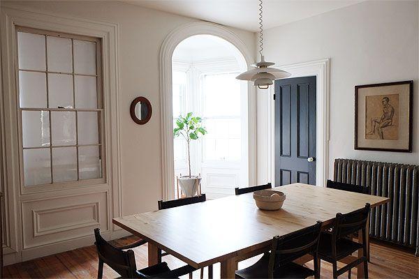 |Manhattan Nest Dining Room Makeover| walls: Benjamin Moore Soft Chamois; trim & ceiling: Benjamin Moore Simply White; doors: Benjamin Moore Onyx; hutch: Martha Stewart Bedford Grey