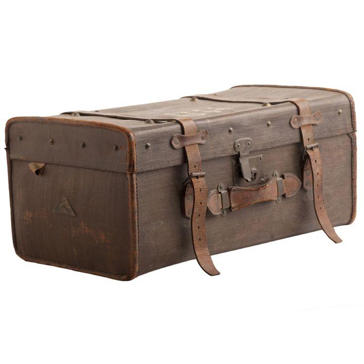 1940's English Leather Luggage Trunk