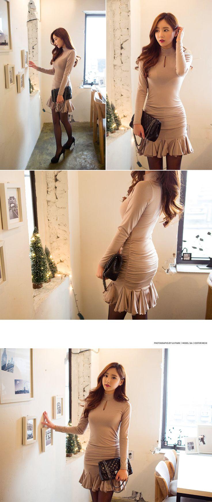 Mock Neck Godet Hem Dress