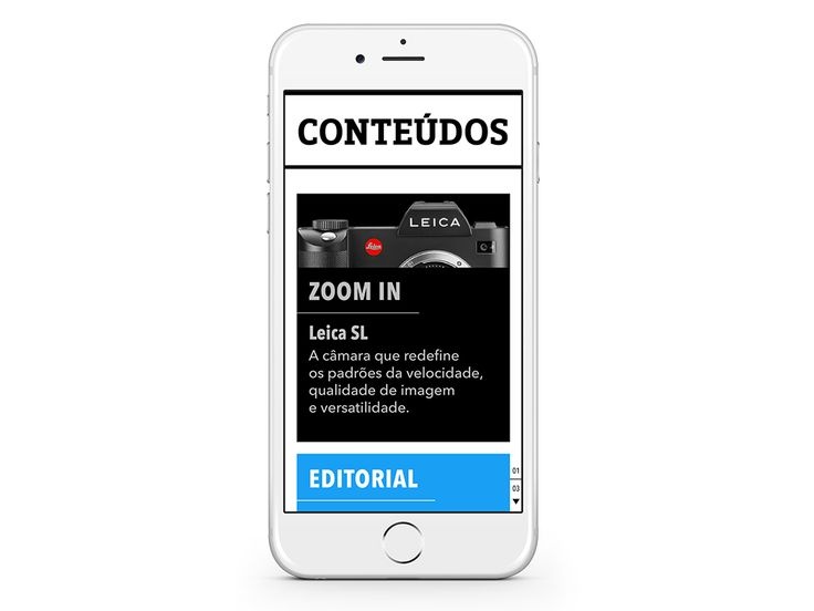 "CONTEÚDOS – News / Megastore / Events – The best of the photographic world in a ""tap"" ... (Sample some spreads)."