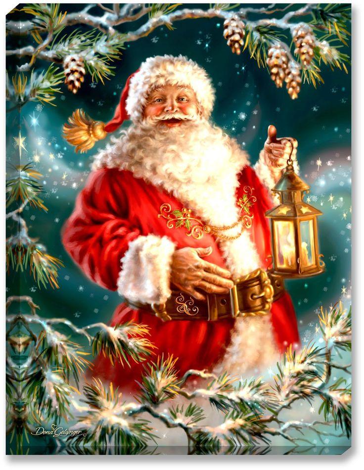 Glow Decor - Enchanted Santa - Illuminated Fine Art by Dona Gelsinger - 1