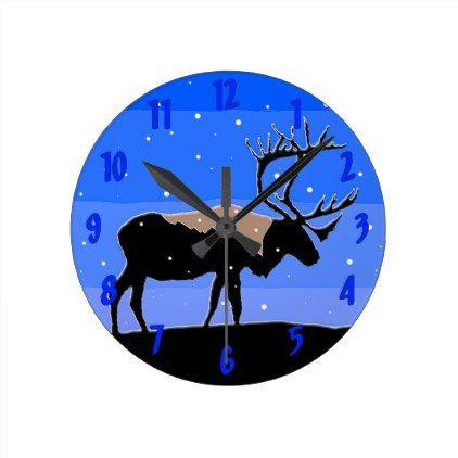 #Caribou in Winter Round Clock - #Xmas #ChristmasEve Christmas Eve #Christmas #merry #xmas #family #holy #kids #gifts #holidays #Santa