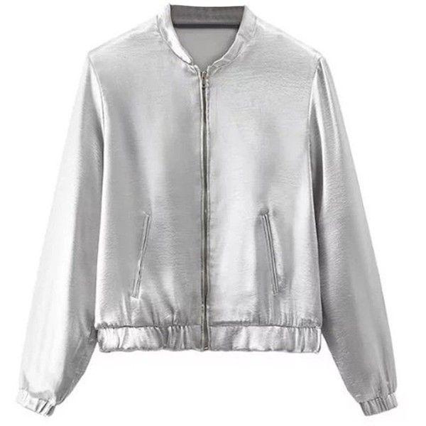 Silver Zip Up Bomber Jacket ($50) ❤ liked on Polyvore featuring outerwear, jackets, blouson jacket, flight jacket, bomber style jacket, silver jacket and zip up jackets