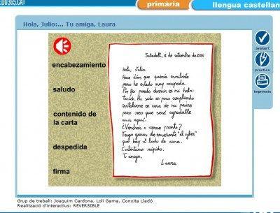 Muestra las partes de una carta y propone dos actividades para trabajar en el aula de forma interactiva.