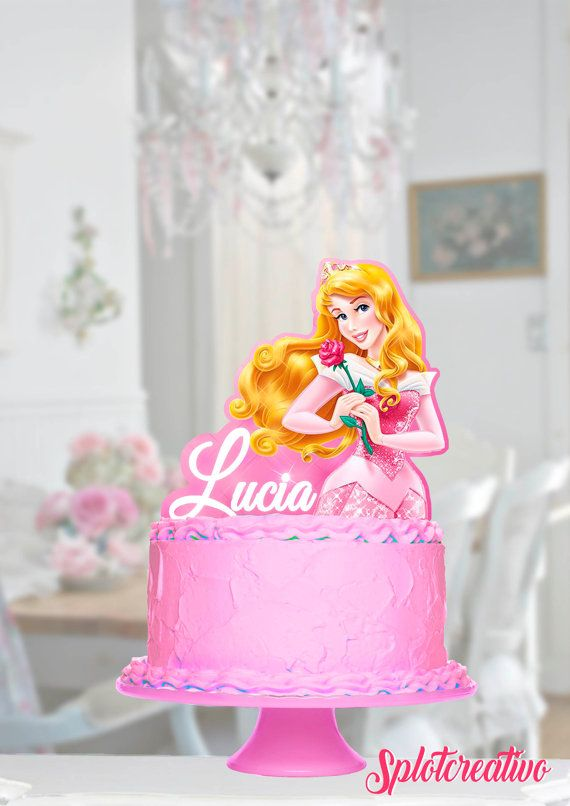 Topper Cake Sleepy Beauty and Pets! Whisker haven, Bloom, Beauty, Aurora. Disney Princess Aurora. / Topper de torta de la Bella Durmiente y sus mascotas Bloom y Beauty.