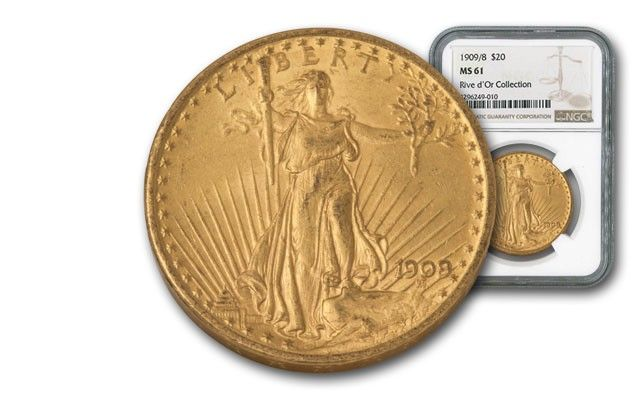 1909/8-P 20 Dollar Gold Saint Gaudens NGC MS61 Rive d'Or | Between the two World Wars, millions of dollars in U.S. aid were shipped to Europe in the currency of the day: gold coin.