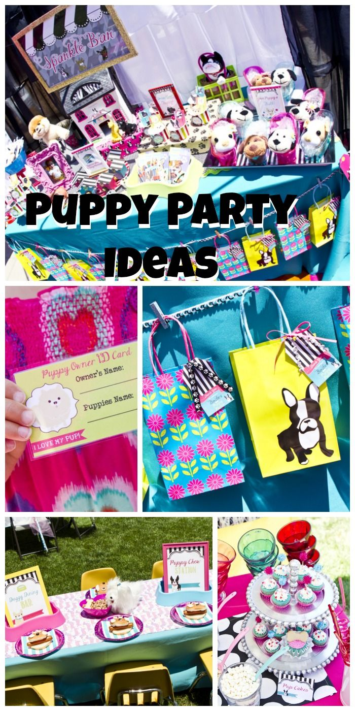 So many fun ideas at this girl birthday puppy party! See more party ideas at CatchMyParty.com.