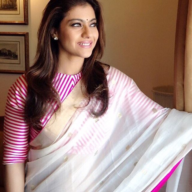Kajol in mashru blouse with Chanderi sari, absolutely beautiful #mashru #chanderi