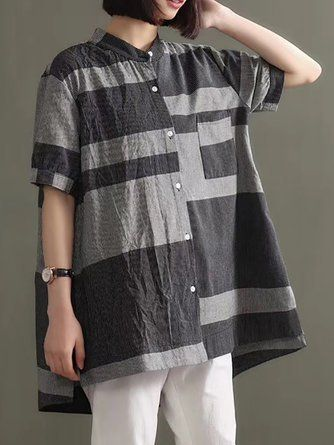 92ba3d753c8 Casual Daily Shift Asymmetric Slit Linen Top