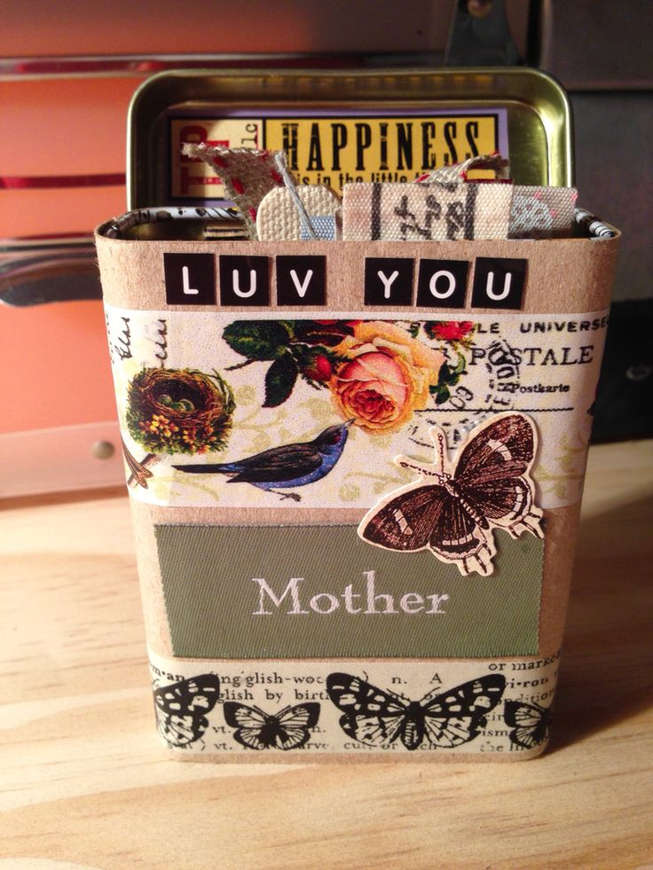 Plaster tin decorated with memory cards inside