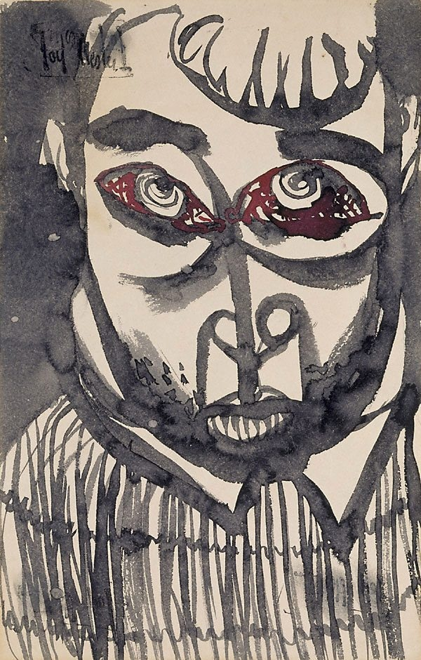 Joy Hester (Australia 21 Aug 1920–04 Dec 1960) Title Frightened Year circa 1945 Media category Drawing Materials used brush and black and red ink, wash on paper Dimensions 31.9 x 20.3cm sheet