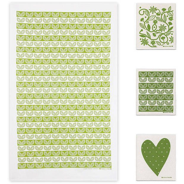 Green Tea Towel And Dishcloths Bundle