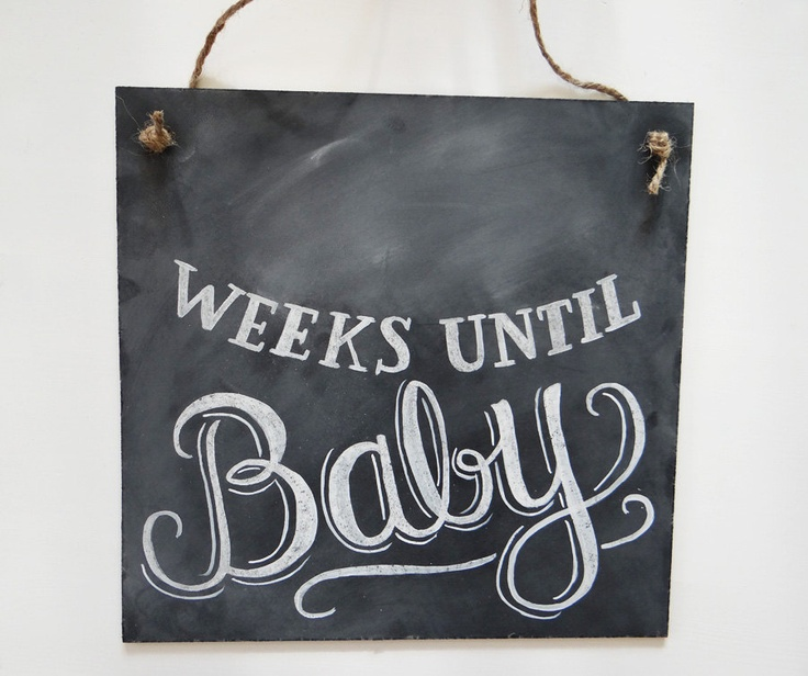 READY TO SHIP - Baby Countdown Sign-  Baby Chalkboard - Chalkboard Art - Pregnancy Announcement - Gift For Mom To Be. $55.00, via Etsy.
