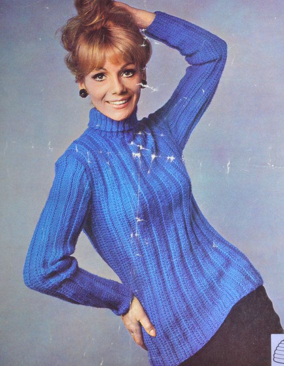 Vintage knitting pattern polo neck ribbed by TheVintageWorkbox, ?1.69