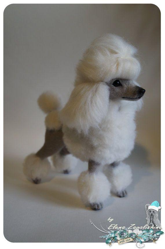 Felt dog/ Needle felted Animal /Poodle van Felteddoggie op Etsy
