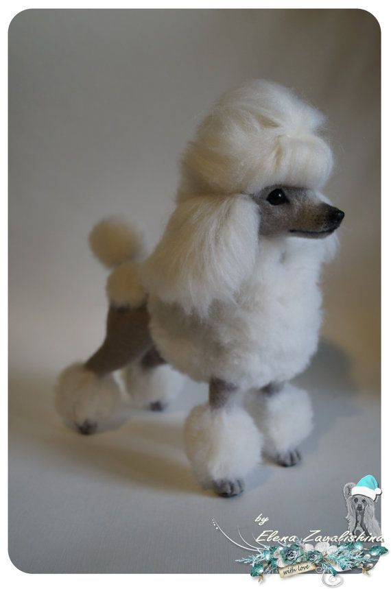 Felt dog/ Needle felted Animal /Poodle by Felteddoggie on Etsy