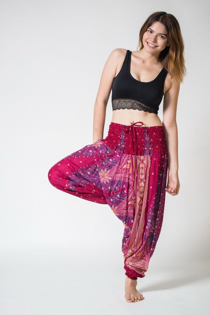 Peacock Feather Jumpsuit Harem Pants In Red Harem Pants
