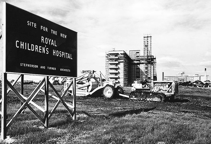 10 acres in Royal Park is designated by the government as the site for the new Children's Hospital in 1948. #royalpark #royal #royalchildrenshospital #hospital #construction #building #vintage #oldphoto #melbourne #australia