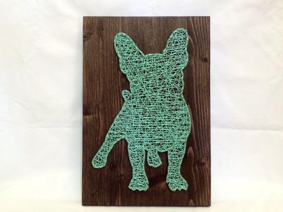 Corda Arte do Buldogue Francês de Turquesa da Arte da Parede e Decoração para a Casa Francês Valentões ...   /     String Art French Bulldog Turquoise Wall Art And Home Decor French Bullies…