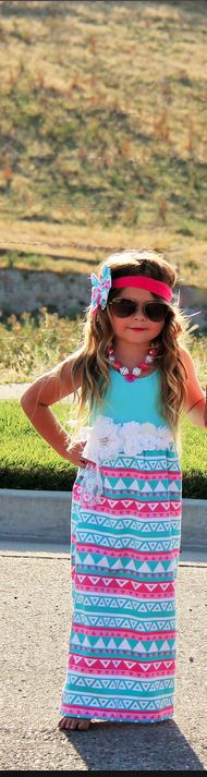 Boutique Mommy And Me Pastel Aztec Maxi Dress Daughter Only Size Small  #Boutique #DressyEverydayHolidayWedding