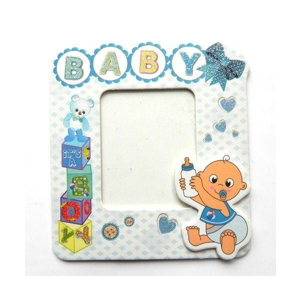 baby yazılı bebek çerçevesi mavi - birmax