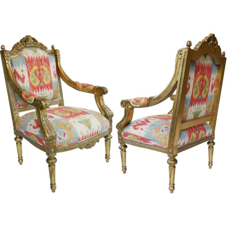 Pair Of French Louis XVI 24K Gold Leafed Arm Chairs