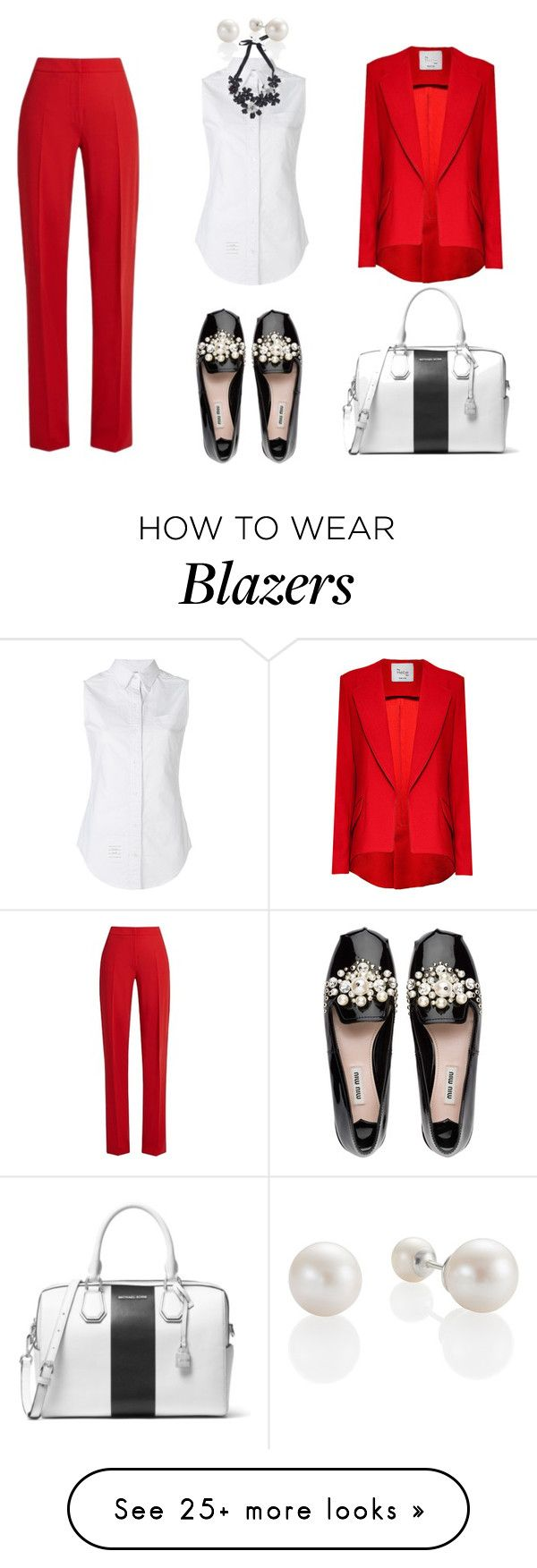 """BOLD AND ON TOP"" by underestimated10 on Polyvore featuring MaxMara, Thom Browne, Hebe Studio, Forest of Chintz, Miu Miu and MICHAEL Michael Kors"