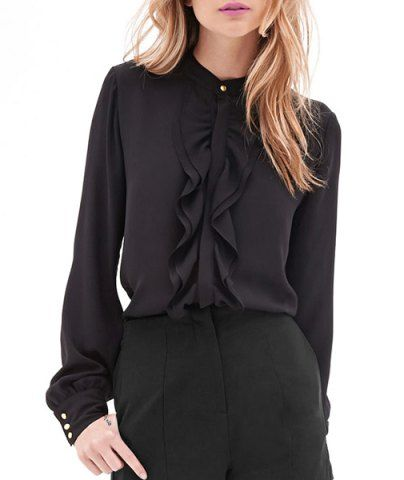Elegant Stand Collar Solid Color Ruffles Spliced Chiffon Blouse For Women Blouses | RoseGal.com Mobile